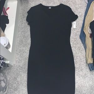 Fitted stretchy black t shirt dress
